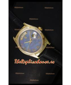 Rolex Day Date 36MM Reloj Réplica Suizo en Oro Amarillo - Dial Azul MOP