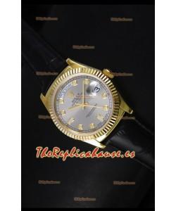 Rolex Day Date 36MM Reloj Réplica Suizo en Oro Amarillo - Dial Gris