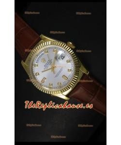 Rolex Day Date 36MM Reloj Réplica Suizo en Oro Amarillo - Dial de Plata