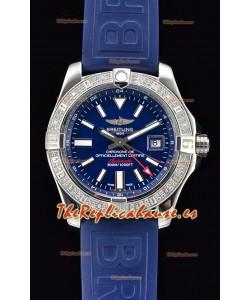 Breitling Avenger II Steel GMT Reloj Suizo a Espejo 1:1 Última Edición - Dial Azul