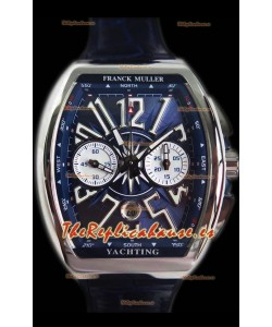 Franck Muller Vanguard Reloj Suizo Cronógrafo en Acero 904L Dial Azul