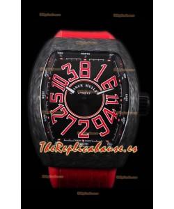 Franck Muller Vanguard Reloj Suizo Caja de Carbono índices rojos