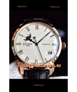 Glashuette Senator Excellence Panorama Date Moon Phase Oro Rosado Reloj Suizo