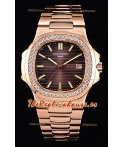Patek Philippe Nautilus 5711/1R Reloj a Espejo 1:1 Bisel de Diamantes Redondeados