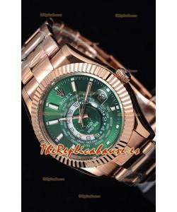 Rolex SkyDweller Reloj Suizo Caja de Oro Rosado de 18 K - Edición DIW Dial Verde