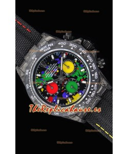 Rolex Daytona DiW Forged Reloj Réplica a Espejo 1:1 Caja en Carbono Dial Multicolor