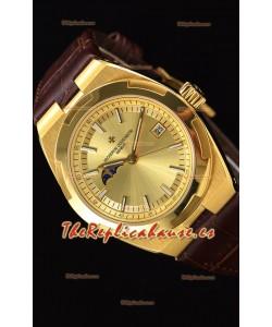Vacheron Constantin Overseas MoonPhase Oro Amarillo Reloj Suizo Correa Marrón