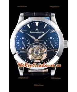 Jaeger LeCoultre Perpetual Tourbillon 904L Caja de Acero Dial Negro Reloj Réplica Suizo