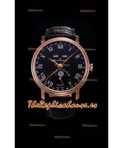 "Blancpain ""Villeret Quantième Complet"" Reloj de Acero 904L en Oro Rosado Dial Negro"