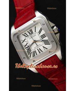 Cartier Santos De Cartier Reloj Réplica a Espejo 1:1 Correa Roja 33MM Reloj de Mujeres