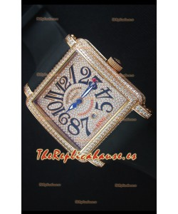 Franck Muller Conquistador King Automatic Reloj en Oro Rosado con Correa de Nylon