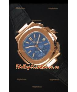 Patek Philippe Nautilus 5980 Cronógrafo en Oro Rosado Dial Azul - Reloj Replica Espejo 1:1