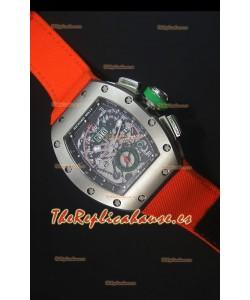 Richard Mille RM011 Filipe Massa Reloj Replica Suizo Caja en Titanio en correa de Nylon Naranja