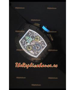 Richard Mille RM011 Filipe Massa PVD Reloj Replica Suizo en Correa de Nylon Negra