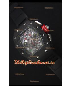 Richard Mille RM011-03 Reloj con Caja de Carbón Forjado color Negro de una sola Pieza en Correa color Negro