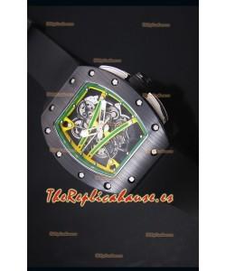 Richard Mille RM061 Reloj Replica Caja de Cerámica Bisel de color combinado Amarillo/Verde