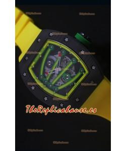 Richard Mille RM059 Yohan Blake Reloj Replica Suizo Caja en Carbón Forjado, Bisel en Amarillo