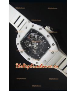 Richard Mille RM055 Reloj con Caja en Cerámica color Blanco con parte Interna del Bisel en color Negro