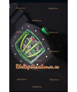 Richard Mille RM059 Yohan Blake Reloj Replica Suizo Caja en Carbón Forjado, Bisel en Verde