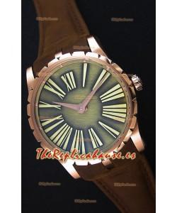 Roger Dubuis Excalibur Caja de Acero Dial Verde Reloj Réplica Suizo