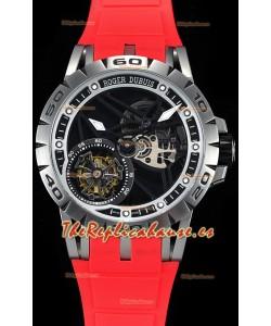 Roger Dubuis Excalibur Spider Flying Tourbillon Skeleton Caja de Titanio Reloj Suizo a Espejo 1:1