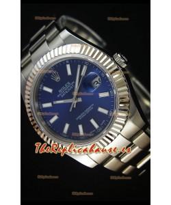 Rolex Datejust II 41MM Reloj Replica Suizo con Movimiento Cal.3136 Dial en Azul Navy