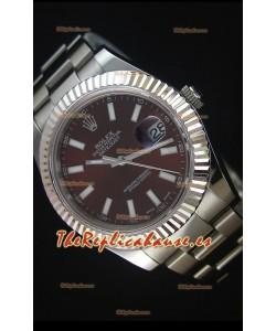 Rolex Datejust II 41MM Reloj Replica Suizo con Movimiento Cal.3136 Dial en color Marrón, Marcadores de Hora tipo Stick