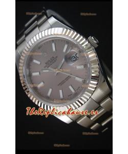 Rolex Datejust II 41MM Reloj Replica Suizo con Movimiento Cal.3136 Dial en color Gris, Marcadores de Hora tipo Stick