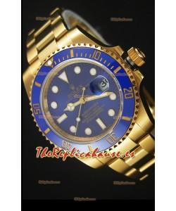 Rolex Submariner 16618 Reloj Replica Suiza 1:1 En Oro con Bisel de Cerámica con Movimiento Suizo 3135
