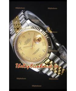 Rolex Datejust Reloj Replica en Oro, Dial con Numeros Romanos, 36MM con Movimiento Suizo 3135