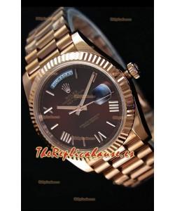 Rolex Day-Date 40MM Reloj Replica Suizo en Oro Rosado y Dial en color Marrón con Numerales en Numeros Romanos