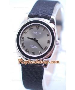 Rolex Celleni Cestello Reloj Suizo Señoras con Esfera Gris Plata y Correa de Nilón