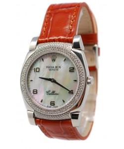 Rolex Celleni Cestello Reloj Suizo Señoras con Esfera Perla beige, Correa de Piel,  Diamantes en Bisel y Terminales