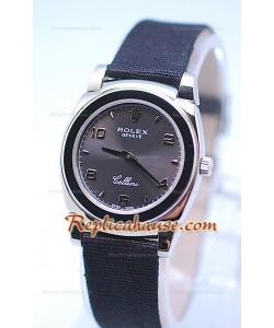 Rolex Celleni Cestello Reloj Suizo Señoras Esfera Gris Plata y Correa de Nilón
