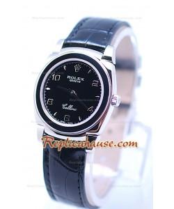 Rolex Celleni Cestello Reloj Suizo Señoras Todo Negro