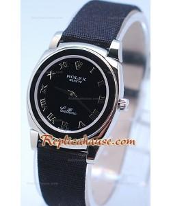 Rolex Celleni Cestello Reloj Suizo Señoras Esfera Romana Negra y Correa de Nilón