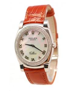 Rolex Celleni Cestello Reloj Suizo Señoras con Esfera Blanca Perla Romana, Correa de Piel y Diamantes en Bisel