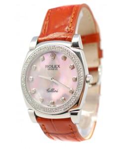 Rolex Celleni Cestello Reloj Suizo Señoras Penk Pearl, Correa de Piel, Diamantes en Bisel y Marcas de Hora