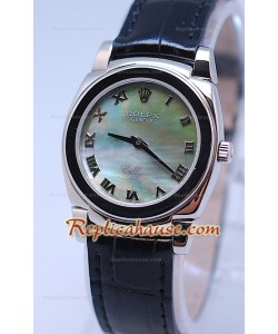 Rolex Celleni Cestello Reloj Suizo Señoras Esfera Verde Perla y Correa de Piel