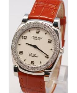 Rolex Celleni Cestello Reloj Suizo Señoras con Esfera Blanca, Correa de Piel y Diamantes en Bisel