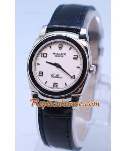 Rolex Celleni Cestello Reloj Suizo Señoras Esfera Blanca y Correa de Piel